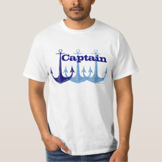 Blue anchor Captain nautical personalized T-Shirt