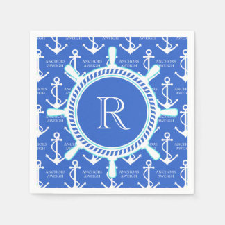 Blue Anchor Coastal Nautical Monogram Disposable Napkins