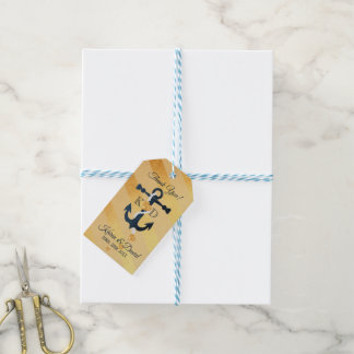 Blue anchor-gold striped wedding gift tag