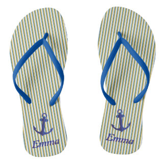 Blue Anchor Green Stripes Specialized Tropical Flip Flops
