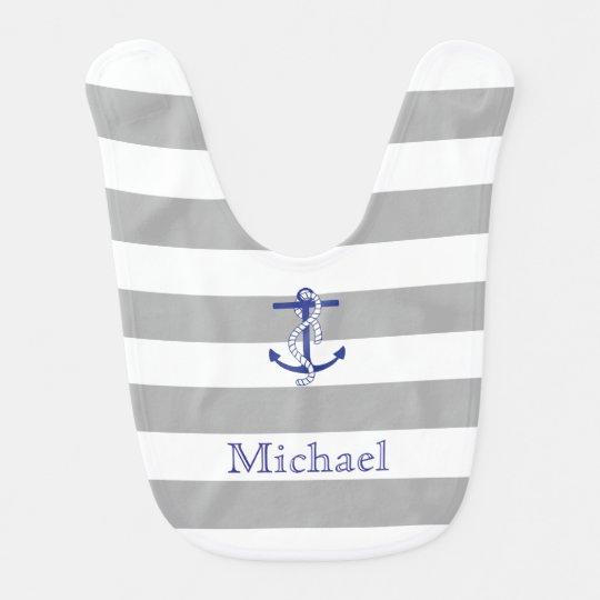 Blue Anchor Grey Stripe Personalized Baby Bib