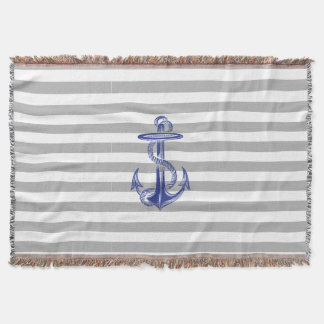 Blue Anchor Grey White Stripe Throw Blanket
