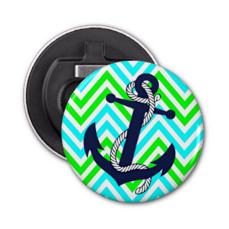 Blue Anchor Lime Green Turquoise Zigzag Pattern Button Bottle Opener