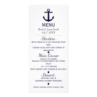 Blue Anchor Nautical Beach Wedding Menu Card