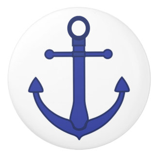 Blue Anchor Nautical Themed Cabinet Knob