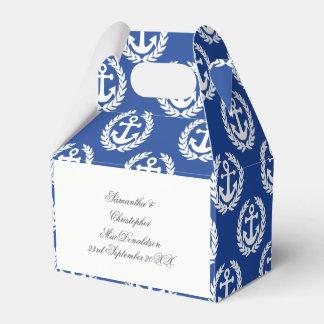 Blue anchor nautical themed wedding party favor box
