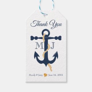 Blue anchor-nautical wedding gift tag
