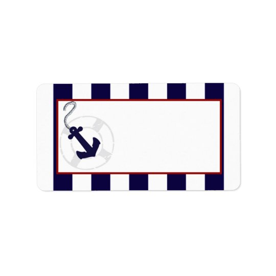 Blue Anchor Nautical Wedding Mailing Address Label