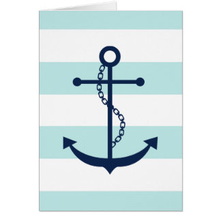 Blue Anchor on Mint Stripes Card