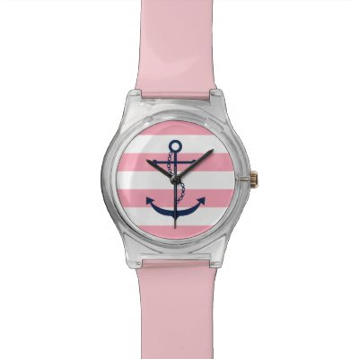 Pink Nautical Anchor Watch Zazzle
