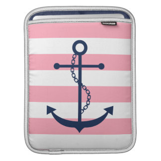 Blue Anchor on Pink Stripes iPad Sleeve