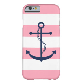 Blue Anchor on Pink Stripes Nautical Theme Barely There iPhone 6 Case