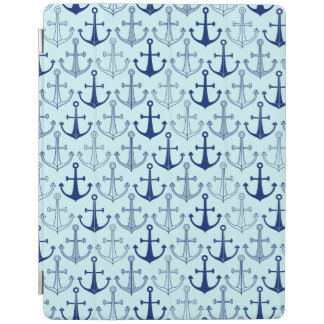 Blue Anchor Pattern iPad Cover