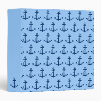Blue Anchor Pattern Vinyl Binders
