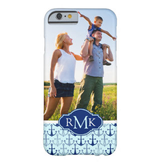 Blue Anchor Pattern | Your Photo & Monogram Barely There iPhone 6 Case