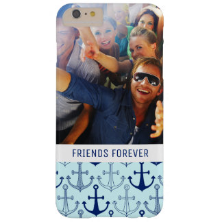 Blue Anchor Pattern | Your Photo & Text Barely There iPhone 6 Plus Case