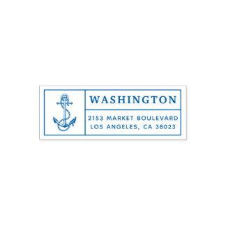 Blue Anchor & Rope | Custom Return Address Self-inking Stamp