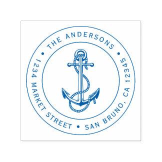 Blue Anchor & Rope | Nautical Return Address Self-inking Stamp