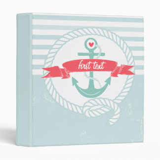 Blue Anchor Rustic Nautical Stripes Custom Binder