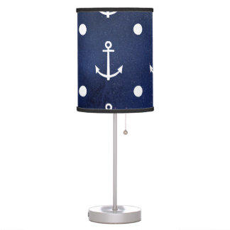 Blue Anchor Seamless Pattern, Nautical Texture Table Lamp