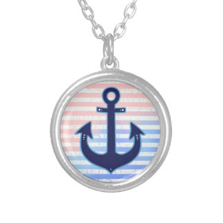 blue anchor & stripes silver plated necklace