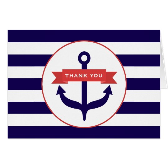 Blue Anchor & Stripes Thank You Card