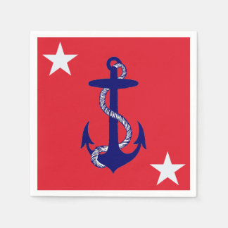 Blue Anchor & White Star on Red Nautical USA Disposable Napkins