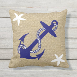 "Blue Anchor & White Starfish Nautical ""Burlap"" Throw Pillow"