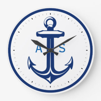 Blue anchor with initials | Nautical Gifts Large Clock