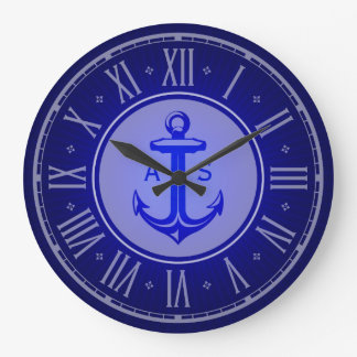 Blue anchor with initials | Nautical Gifts Wallclock