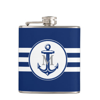 Blue Anchor with Monogram Hip Flask