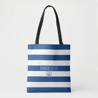 Blue Anchor Wreath Tote Bag