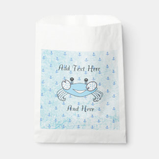 Blue Anchors Crab Nautical Themed Candy Favor Bags