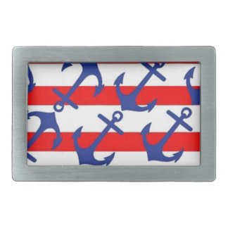 Blue Anchors On Red Stripes Belt Buckle