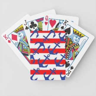 Blue Anchors On Red Stripes Bicycle Playing Cards