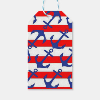 Blue Anchors On Red Stripes Gift Tags