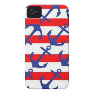 Blue Anchors On Red Stripes iPhone 4 Cover