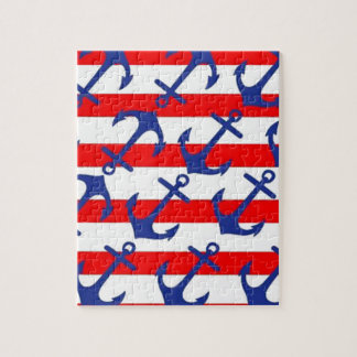 Blue Anchors On Red Stripes Jigsaw Puzzle