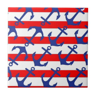 Blue Anchors On Red Stripes Tile