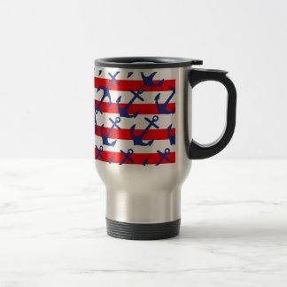 Blue Anchors On Red Stripes Travel Mug