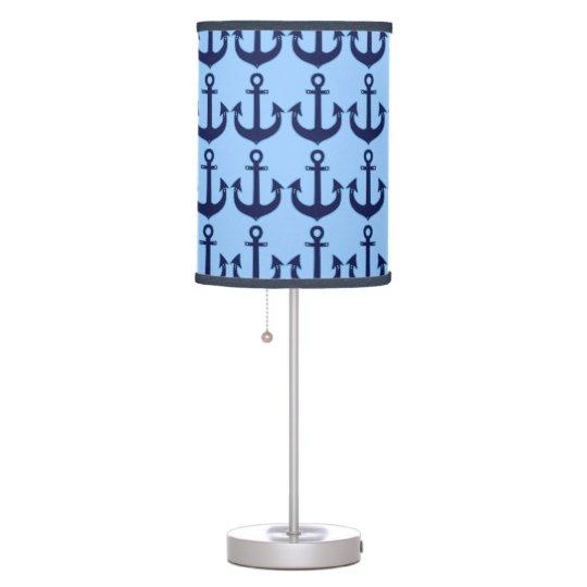 blue anchors pattern desk lamp