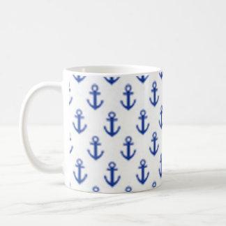 Blue Anchors pattern - Neat nautical design! Classic White Coffee Mug