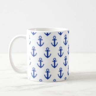Blue Anchors pattern - Neat nautical design! Basic White Mug