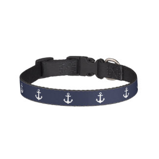 Blue Anchors Pattern Pet Collar