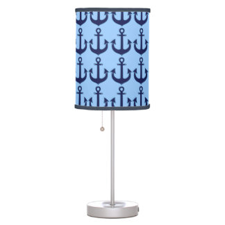 blue anchors pattern table lamp