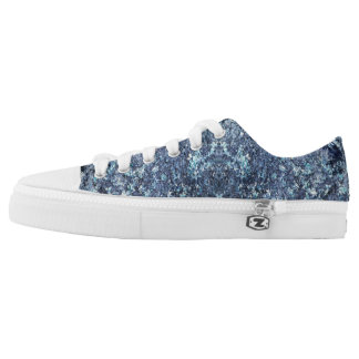 Blue and aquamarine texture pattern Low-Top sneakers