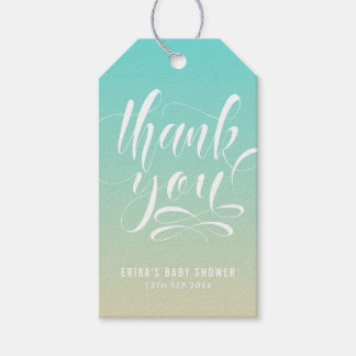 Blue and Beige Beach Ombre Thank You Gift Tag