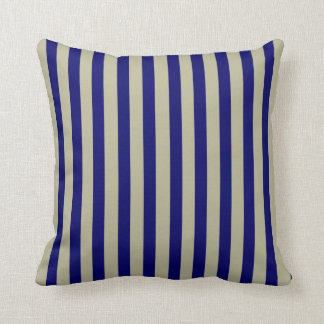 Blue and Beige Coordinated Stripes Throw Pillow