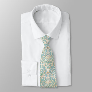 Blue and Beige Damask Tie