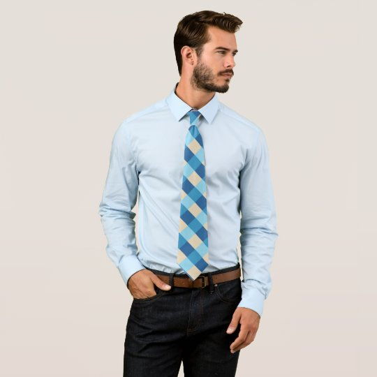 Blue and beige plaid pattern tie